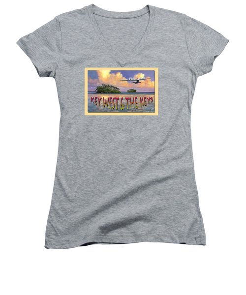 Key West Air Force Women's V-Neck T-Shirt (Junior Cut) by David  Van Hulst