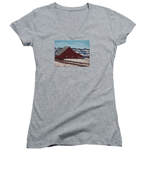 Keystone Farm Women's V-Neck T-Shirt (Junior Cut) by Jeffrey Koss
