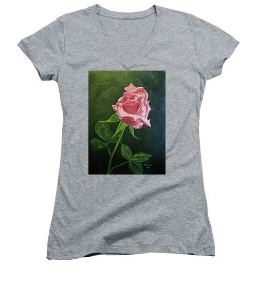 Women's V-Neck T-Shirt (Junior Cut) featuring the painting Kiss Of The Morning Sun 2 by Wendy Shoults