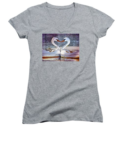 Women's V-Neck T-Shirt (Junior Cut) featuring the photograph Kissing Swans by Alice Gipson