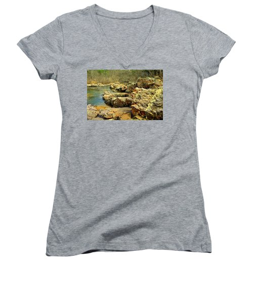 Women's V-Neck T-Shirt (Junior Cut) featuring the photograph Klepzig Shut In by Marty Koch