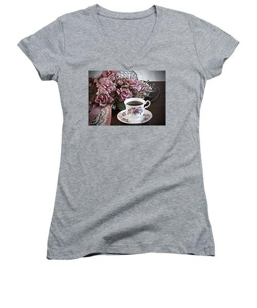 Women's V-Neck T-Shirt (Junior Cut) featuring the painting Ladies Tea Time by Sherry Hallemeier