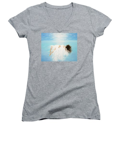Lady Of The Water Women's V-Neck T-Shirt (Junior Cut) by Kume Bryant