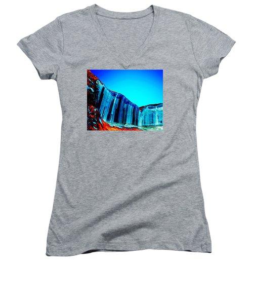 Lake Powell Blue Ice Women's V-Neck T-Shirt (Junior Cut) by Rebecca Margraf