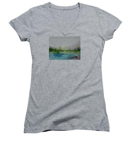 Lake Study 3 Women's V-Neck T-Shirt (Junior Cut) by Robin Miller-Bookhout