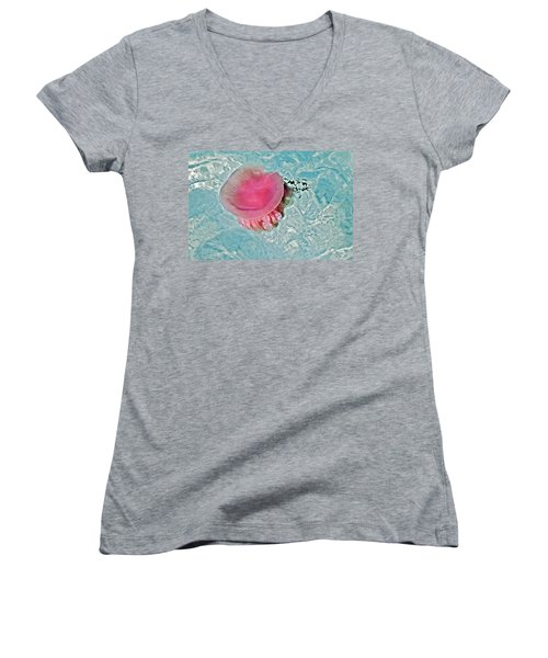 Women's V-Neck T-Shirt (Junior Cut) featuring the photograph Large Colorful Jelly Fish by Susan Leggett