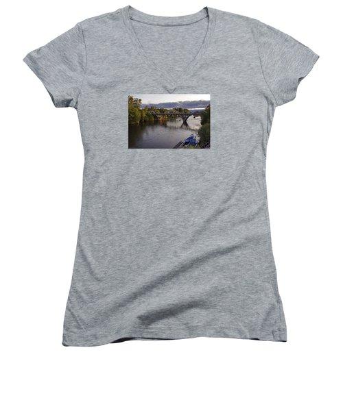 Last Light On Caveman Bridge Women's V-Neck T-Shirt (Junior Cut) by Mick Anderson