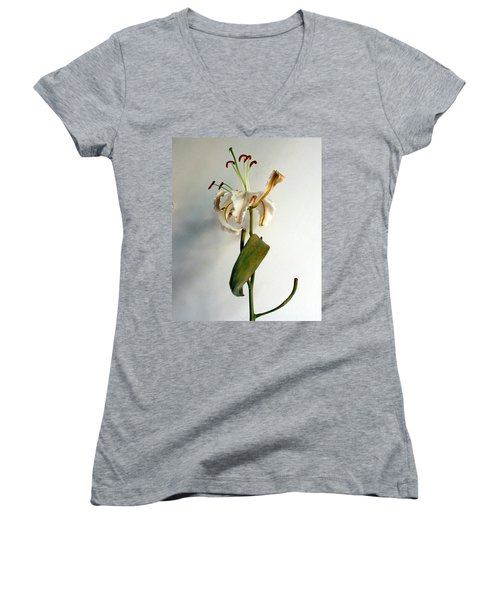 Women's V-Neck T-Shirt (Junior Cut) featuring the photograph Last Moments by Pravine Chester