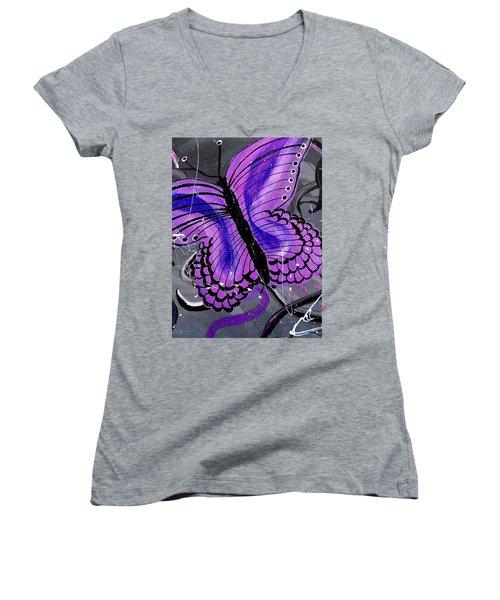 Lavendar Ripple Women's V-Neck T-Shirt