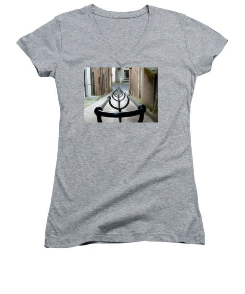 Women's V-Neck T-Shirt (Junior Cut) featuring the photograph Lerwick Lanes by Lynn Bolt