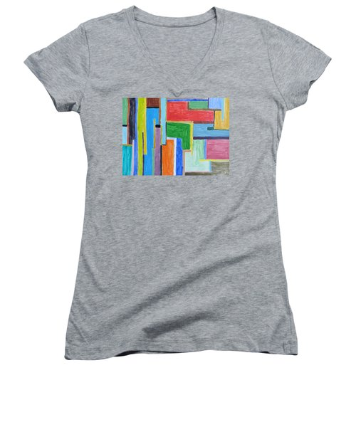 Women's V-Neck T-Shirt (Junior Cut) featuring the painting Life by Sonali Gangane