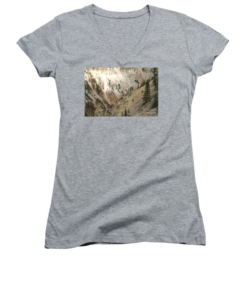 Light And Shadows In The Grand Canyon In Yellowstone Women's V-Neck T-Shirt (Junior Cut) by Living Color Photography Lorraine Lynch