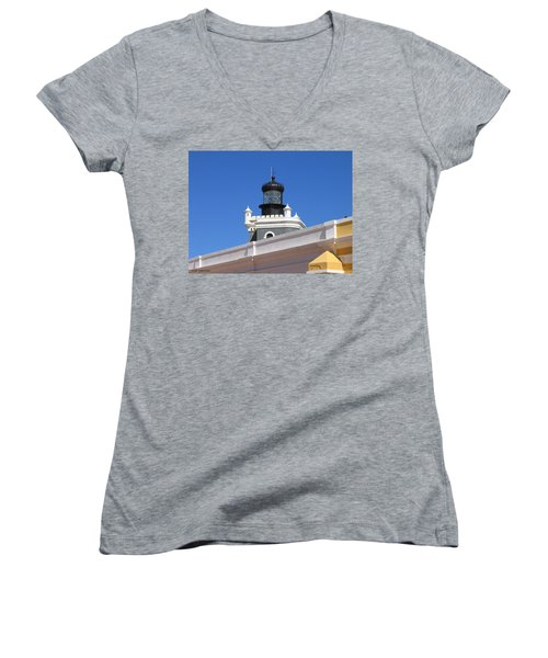 Lighthouse At Puerto Rico Castle Women's V-Neck T-Shirt (Junior Cut) by Suhas Tavkar