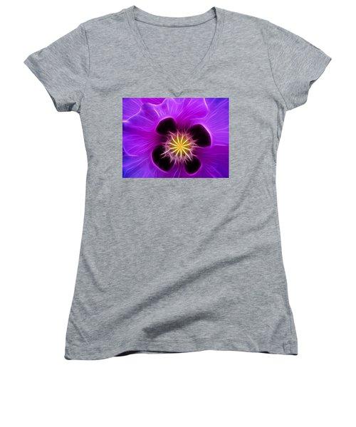 Lilac Poppy Women's V-Neck T-Shirt
