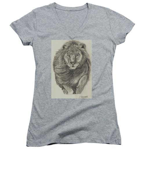 Women's V-Neck T-Shirt (Junior Cut) featuring the drawing Lion by Christy Saunders Church