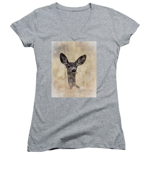 Little Fawn Women's V-Neck T-Shirt (Junior Cut) by Steve McKinzie