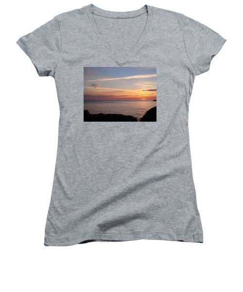 Women's V-Neck T-Shirt (Junior Cut) featuring the photograph Lone Freighter On Up by Bonfire Photography