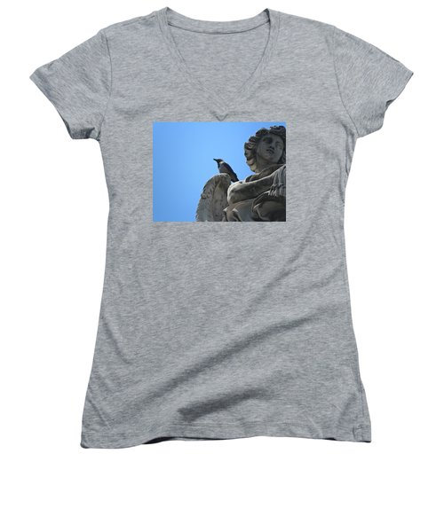 Women's V-Neck T-Shirt (Junior Cut) featuring the photograph Lookout by Laurel Best