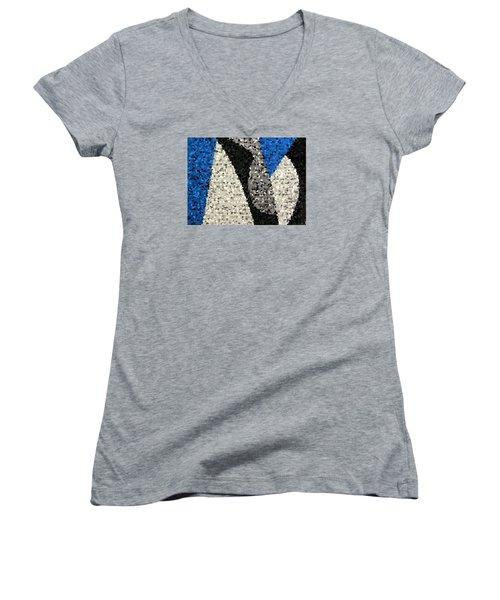 Lou Reed Tribute White Light Texture Women's V-Neck T-Shirt (Junior Cut) by Dick Sauer