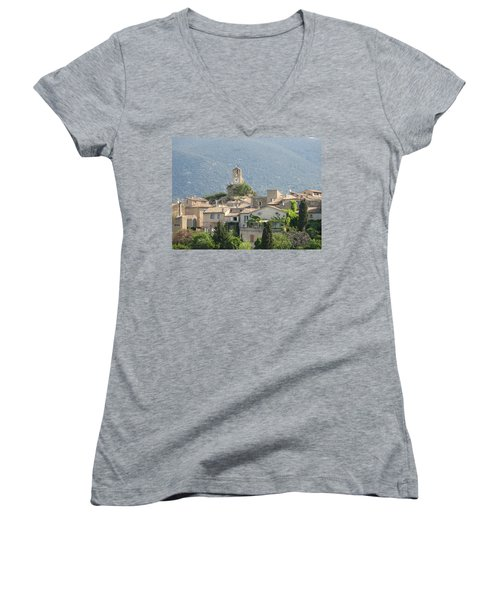 Women's V-Neck T-Shirt (Junior Cut) featuring the photograph Lourmarin In Provence by Carla Parris