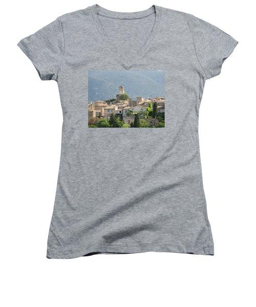 Lourmarin In Provence Women's V-Neck T-Shirt (Junior Cut) by Carla Parris