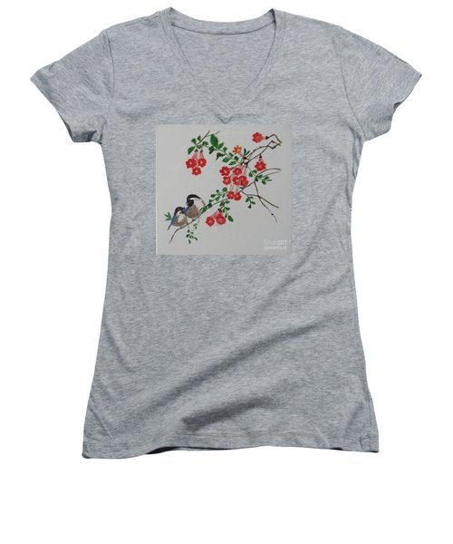 Women's V-Neck T-Shirt (Junior Cut) featuring the painting Love by Sonali Gangane