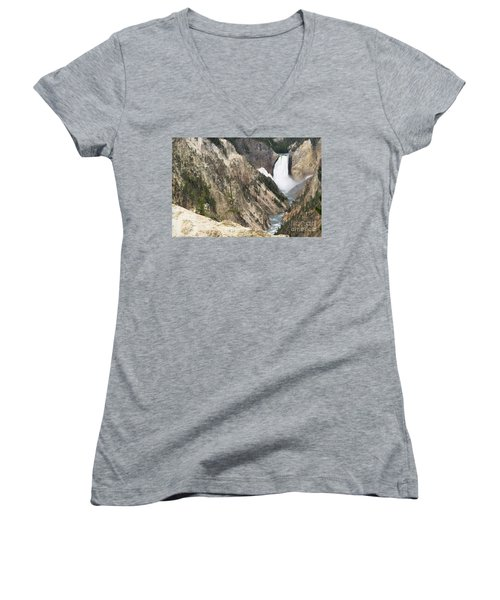 Lower Falls Another View Women's V-Neck T-Shirt (Junior Cut) by Living Color Photography Lorraine Lynch