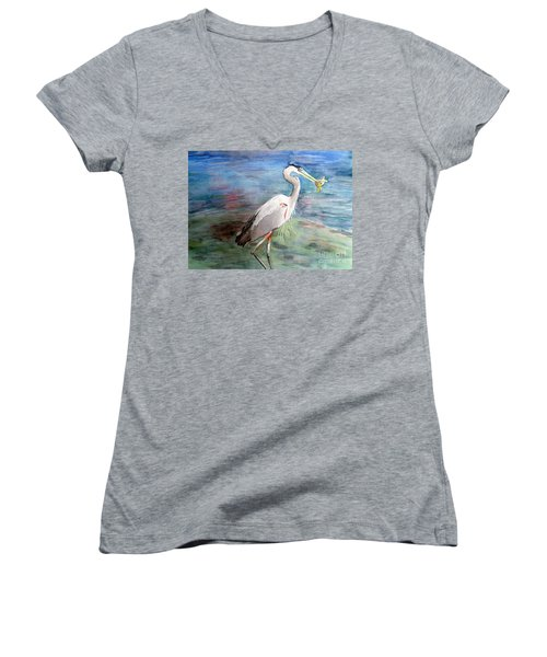 Lunchtime Watercolour Women's V-Neck (Athletic Fit)