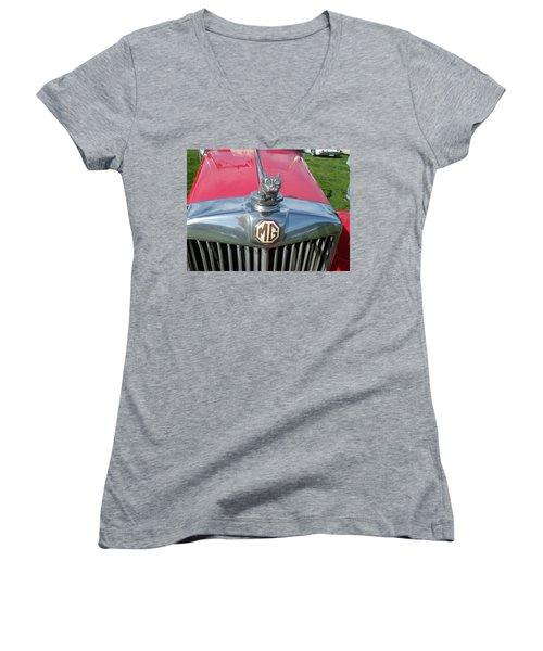 Women's V-Neck T-Shirt (Junior Cut) featuring the photograph M G Hood 1 by Anna Ruzsan