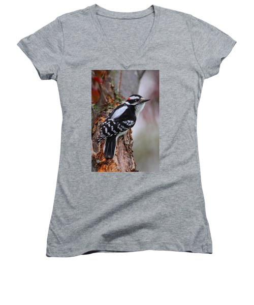 Male Downy Woodpecker Women's V-Neck (Athletic Fit)