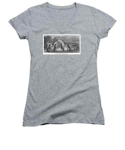 Mango Hummingbird Women's V-Neck T-Shirt (Junior Cut) by Granger