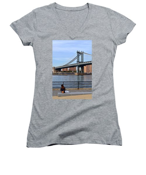 Manhattan Bridge2 Women's V-Neck T-Shirt