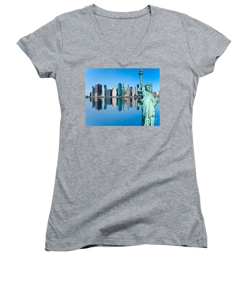 Women's V-Neck T-Shirt (Junior Cut) featuring the photograph Manhattan Liberty by Luciano Mortula
