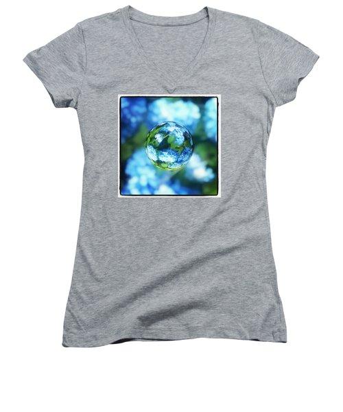 Marbled Blue Hydrangea Women's V-Neck T-Shirt