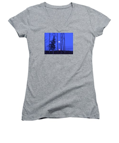 Women's V-Neck T-Shirt (Junior Cut) featuring the photograph May Moon Through Birches by Francine Frank
