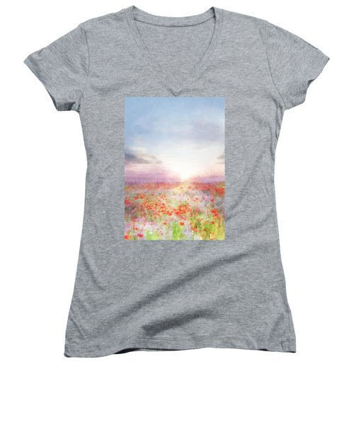 Meadow Flowers Women's V-Neck (Athletic Fit)
