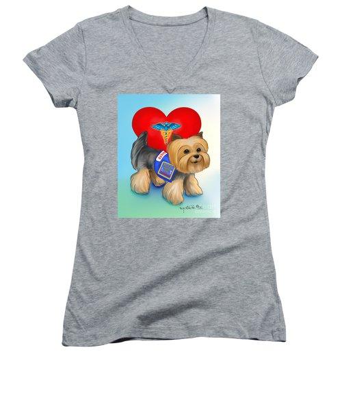Medical Alert Yorkie Women's V-Neck T-Shirt (Junior Cut) by Catia Cho