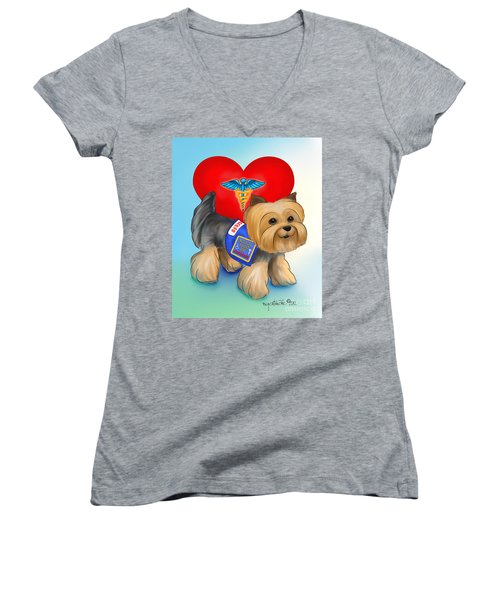Medical Alert Yorkie Women's V-Neck T-Shirt