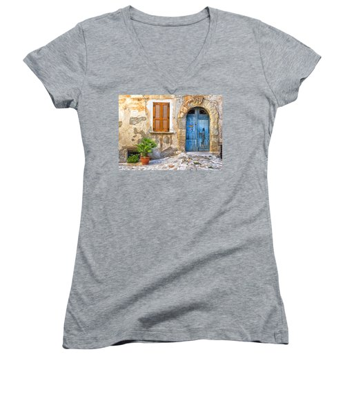 Mediterranean Door Window And Vase Women's V-Neck T-Shirt