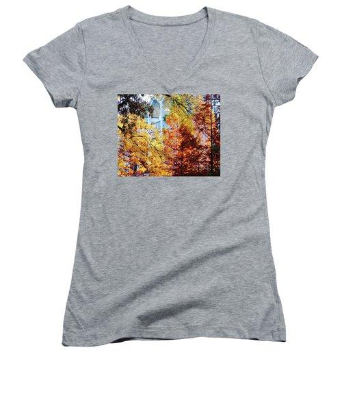 Women's V-Neck T-Shirt (Junior Cut) featuring the photograph Memphis College Of Art Overton Park Memphis Tn by Lizi Beard-Ward
