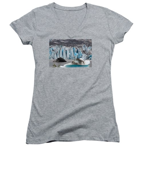 Mendenhall Glacier Juneau Alaska 1698 Women's V-Neck (Athletic Fit)