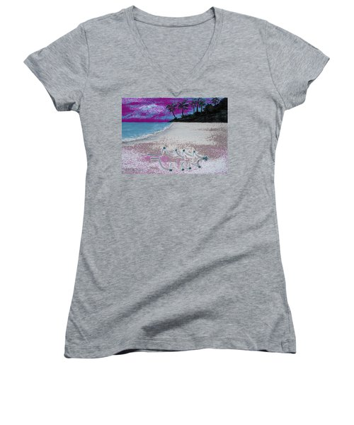 Merry Beachy Christmas Women's V-Neck (Athletic Fit)