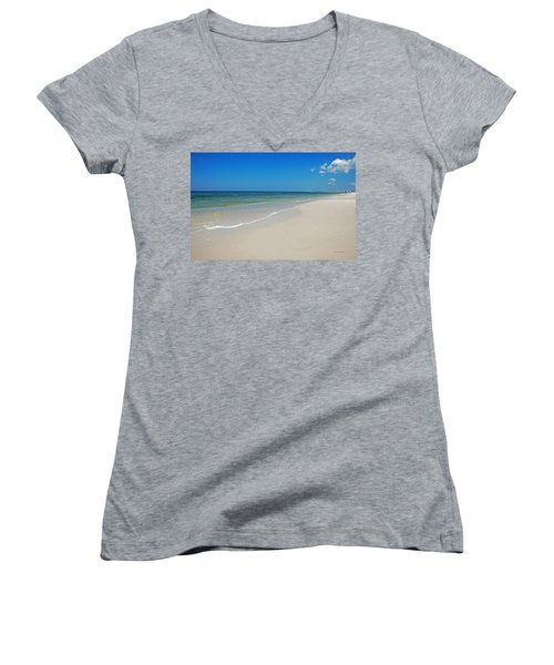 Women's V-Neck T-Shirt (Junior Cut) featuring the photograph Mexico Beach by Kay Lovingood