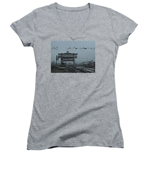 Women's V-Neck T-Shirt (Junior Cut) featuring the photograph Milan Central Station Italy In The Fog by Andy Prendy