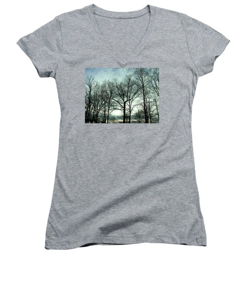 Women's V-Neck T-Shirt (Junior Cut) featuring the photograph Mirage In The Clouds by Pamela Hyde Wilson