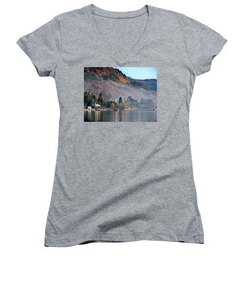 Women's V-Neck T-Shirt (Junior Cut) featuring the photograph Misty Autumn Morning by Lynn Bolt
