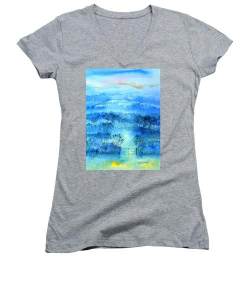 Misty Morning  Ireland  Women's V-Neck T-Shirt (Junior Cut) by Trudi Doyle