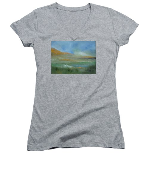 Misty Morning Women's V-Neck T-Shirt (Junior Cut) by Judith Rhue