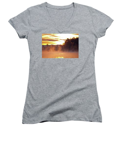 Women's V-Neck T-Shirt (Junior Cut) featuring the photograph Misty Sunrise by Tikvah's Hope