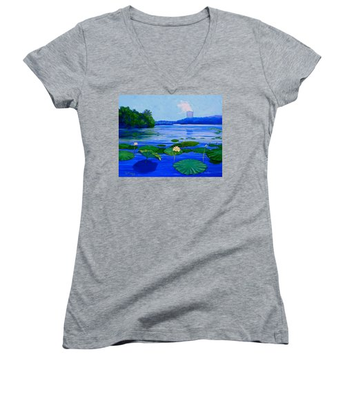 Modern Mississippi Landscape Women's V-Neck (Athletic Fit)